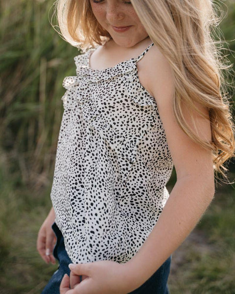 White & Black Dotted Ruffled Tank  (Tween 6 to 16)