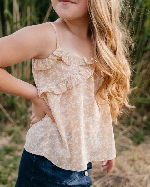 Faded Floral Ruffle Tank (Tween Size 6 to 16)