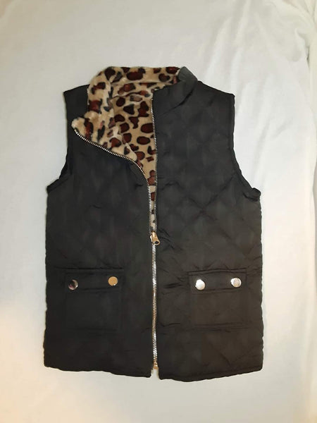 Fuzzy leopard lined vest (12 month to 6/7)