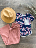 Eileen pocket and peony tee (size 6 to 16)