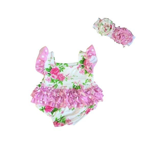 Pink Floral Bubble Romper with Matching Headband