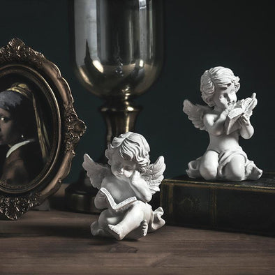 2 Piece Reading Angel Sculpture Set