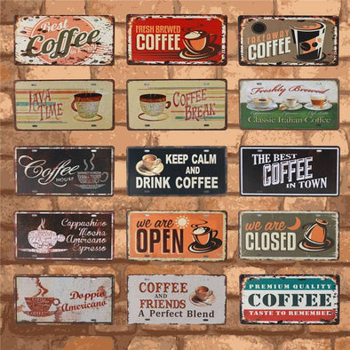 Cafe Metal Sign Wall Art Collection