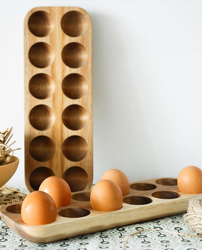 Acacia Wood Egg Holder