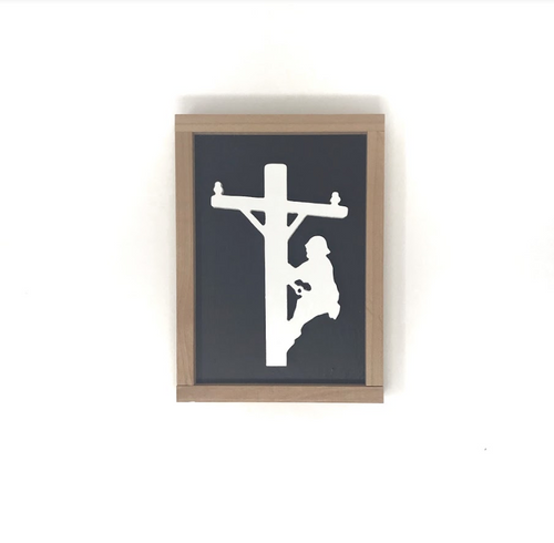 Lineman Silhouette - Wood Sign