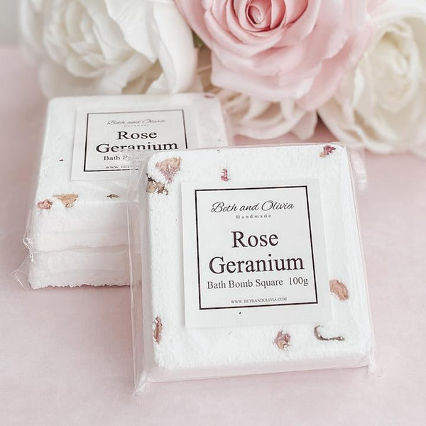 Rose Geranium Bath Bomb Square