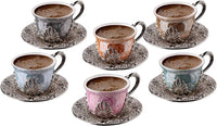 Fancy Espresso Coffee Cup with Saucers Set of 6, Porcelain 4 oz. Turkish Coffee Set, Turkish Cup Set, Greek Coffee, Demitasse Coffee Mug Women, Men, Adults, Housewarming, Birthday, Wedding