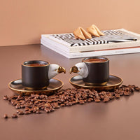 Karaca Eagle 2 Person Coffee Cup Set Turkish Coffee Espresso 2 Coffee Cups + 2 Saucers Made in Turkey %100 Original