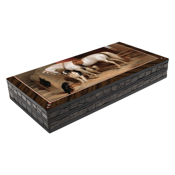 Artwork White Horse Backgammon Set First Quality MDF Family Board Games Gift For Birthday Black Friday Female Male Friend