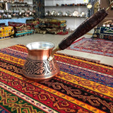 Turkish Traditional Design Copper Handmade Engraved With Handle With Inlays Coffee Pot Ottoman Arabic Coffee Espresso Pots