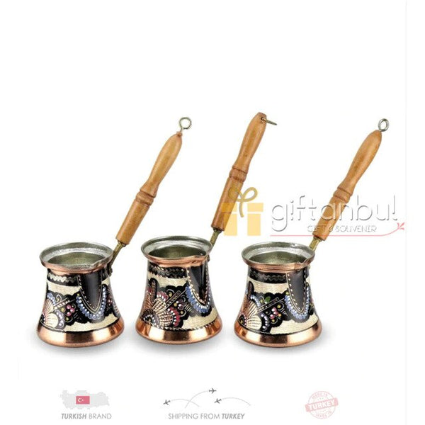 Turkish Copper Coffee Pot Handmade Traditional Design Engraved Wood Handle With Inlays Ottoman Arabic  Coffee Espresso Pots