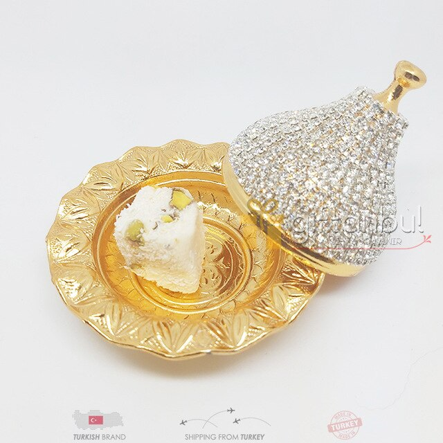 Turkish Delight and Sugar Bowl Swarovski Stone Design Candy Dish With Lid Decorative Authentic Medieval Style Wedding Gift
