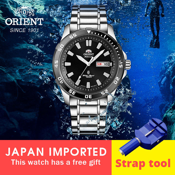 English Calendar 100% Original ORIENT Watch 10 Bar WaterProof Mechanical Automatic Stainless Steel Men's Diving watch