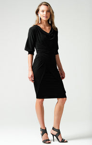 SACHA DRAKE - 3/4 SLEEVE REVERSIBLE KNEE-LENGTH COWL TIE DRAPE DRESS IN BLACK