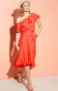 Sacha Drake - SAO PAOLO ONE SHOULDER WITH FRILL CAPE ASYMMETRICAL HEM MIDI DRESS IN TANGERINE