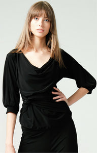 SACHA DRAKE - 3/4 SLEEVE REVERSIBLE STRETCH JERSEY COWL TIE DRAPE TOP IN BLACK