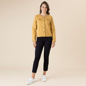 THREADZ - Collarless coloured denim jacket 36603