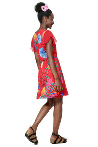 Desigual - Short sleeve crossover Dress with elastic waist