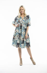 ORIENTIQUE - 3/4 Sleeve tiered dress