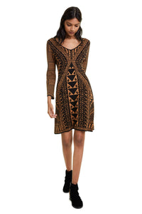DESIGUAL - 3/4 Sleeve V-neck knitted dress