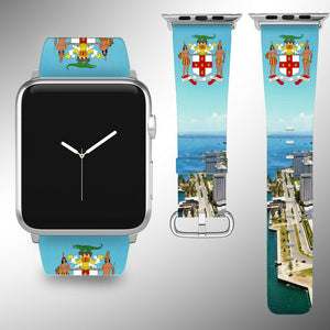 Jamaica Coat of Arms Apple Watch Band 38 40 42 44 mm Fabric Leather Strap