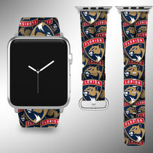 Load image into Gallery viewer, Florida Panthers Apple Watch Band 38 40 42 44 mm Fabric Leather Strap 01