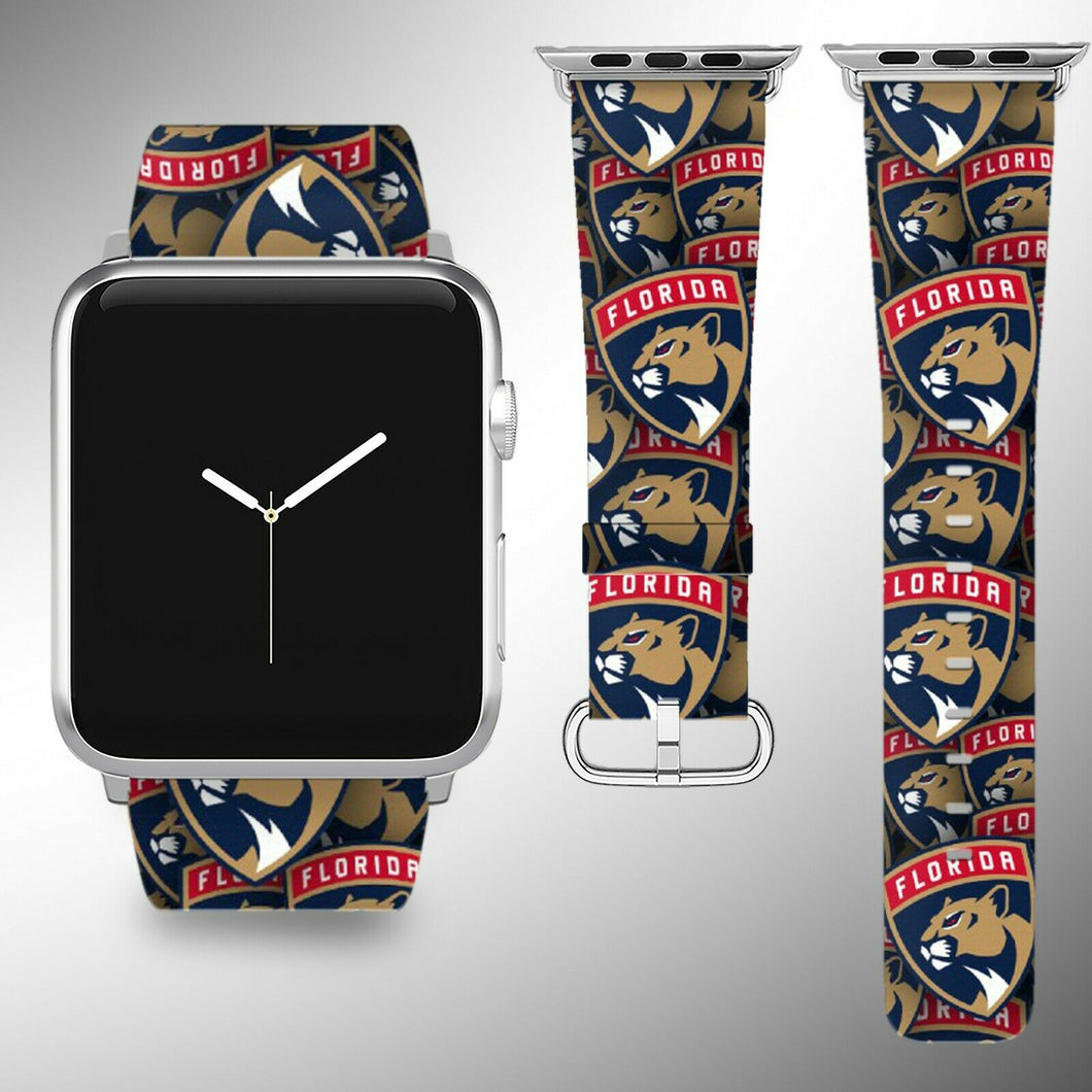 Florida Panthers Apple Watch Band 38 40 42 44 mm Fabric Leather Strap 01