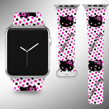 Load image into Gallery viewer, Hello Kitty Apple Watch Band 38 40 42 44 mm Fabric Leather Strap 02