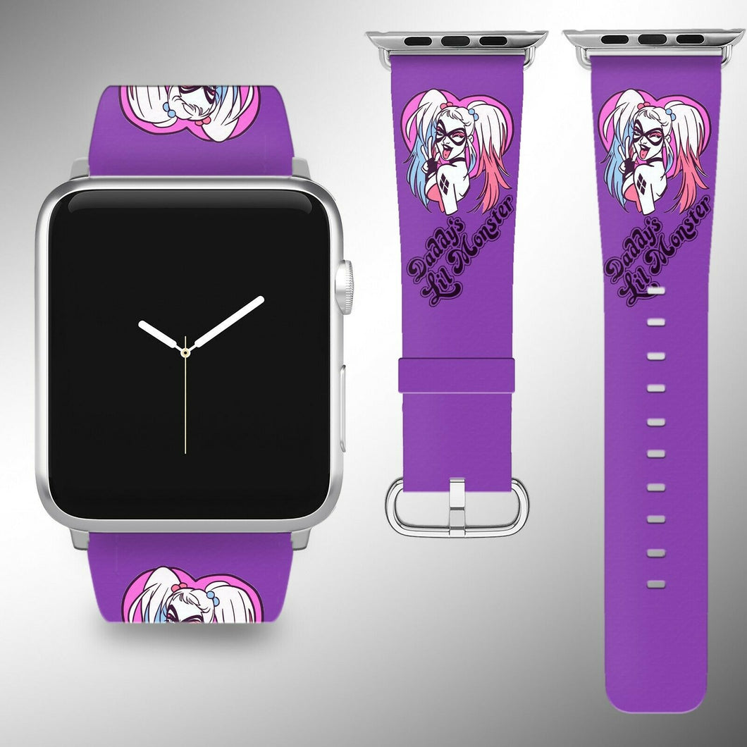 Harley Quinn Apple Watch Band 38 40 42 44 mm Fabric Leather Strap 3
