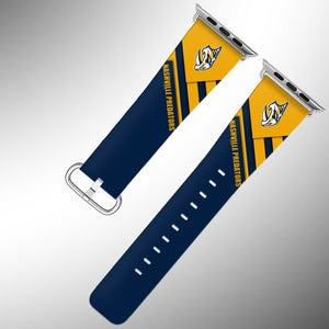 Nashville Predators Apple Watch Band 38 40 42 44 mm Fabric Leather Strap 02