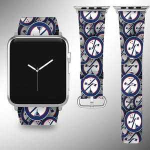 Washington Capitals Apple Watch Band 38 40 42 44 mm Fabric Leather Strap 01