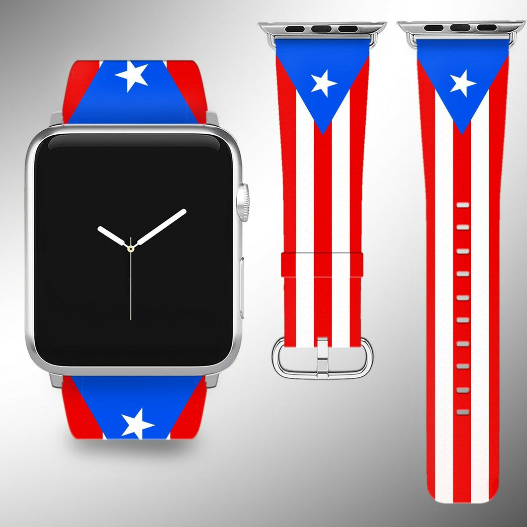 Puerto Rico Flag Apple Watch Band 38 40 42 44 mm Fabric Leather Strap