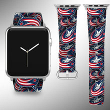 Load image into Gallery viewer, Columbus Blue Jackets Apple Watch Band 38 40 42 44 mm Fabric Leather Strap 01