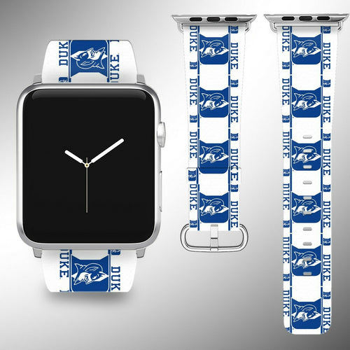 Duke Blue Devils Apple Watch Band 38 40 42 44 mm Fabric Leather Strap 2