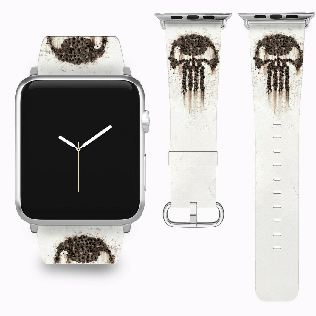 Punisher Apple Watch Band 38 40 42 44 mm Series 5 1 2 3 4 Fabric Leather Strap 6