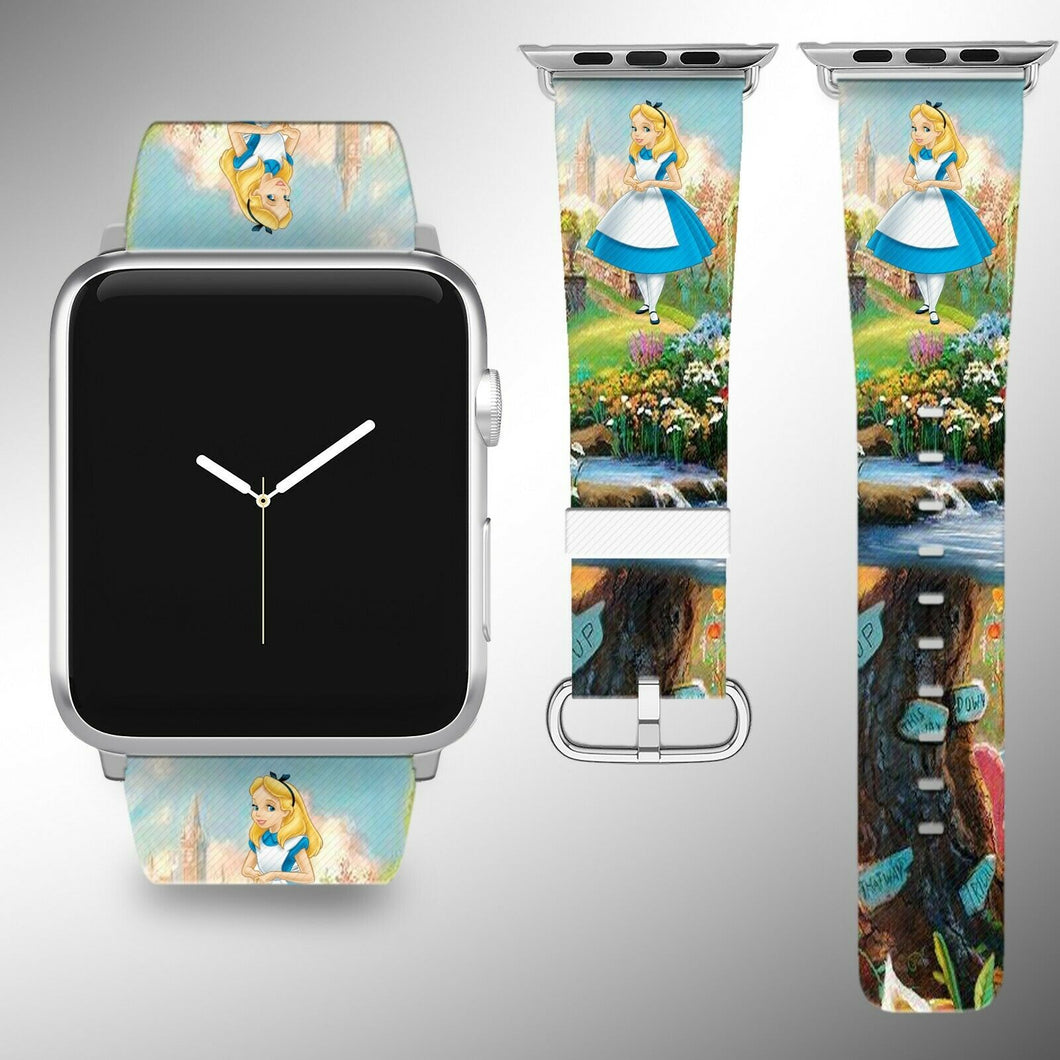 Alice in Wonderland Apple Watch Band 38 40 42 44 mm Fabric Leather Strap