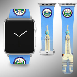 El Salvador Coat of Arms Apple Watch Band 38 40 42 44 mm Series 1- 5 Wrist Strap