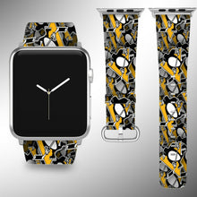 Load image into Gallery viewer, Pittsburgh Penguins Apple Watch Band 38 40 42 44 mm Fabric Leather Strap 01