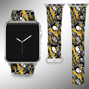 Pittsburgh Penguins Apple Watch Band 38 40 42 44 mm Fabric Leather Strap 01