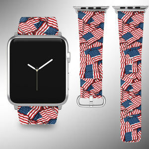 USA Flag Apple Watch Band 38 40 42 44 mm Series 5 1 2 3 4 Fabric Leather Strap 1