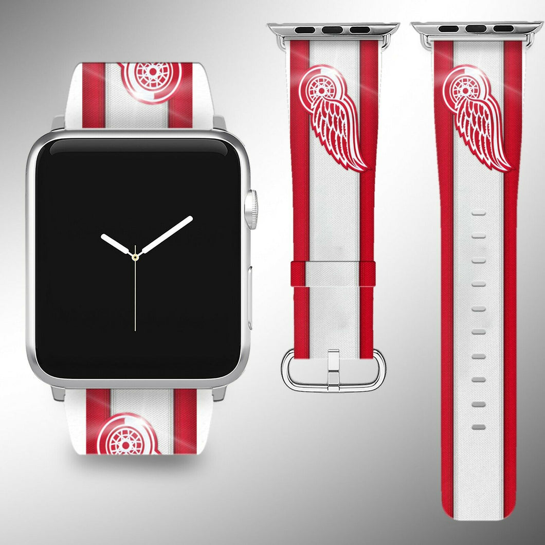 Detroit Red Wings Apple Watch Band 38 40 42 44 mm Fabric Leather Strap 02