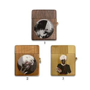 Anime Tokyo Ghoul wooden Case for AirPods 1 2 3 Pro real wood cover SN 254