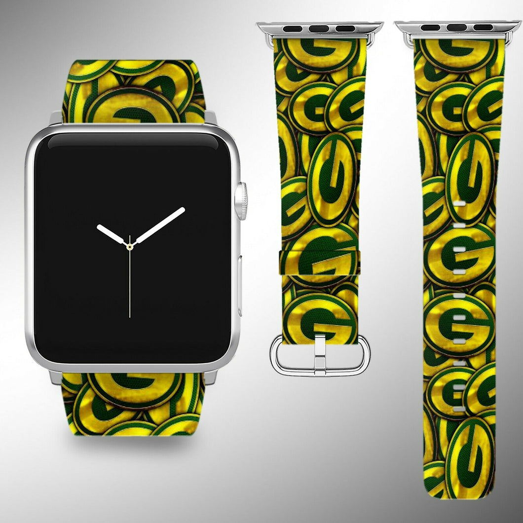 Green Bay Packers Apple Watch Band 38 40 42 44 mm Fabric Leather Strap 1