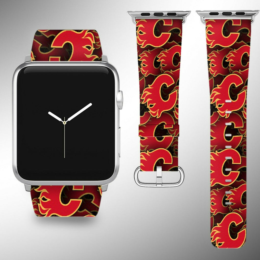 Calgary Flames Apple Watch Band 38 40 42 44 mm Fabric Leather Strap 01