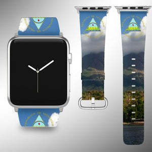 Nicaragua Coat of Arms Apple Watch Band 38 40 42 44 mm Series 1 - 5 Wrist Strap