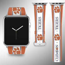 Load image into Gallery viewer, Clemson Tigers Apple Watch Band 38 40 42 44 mm Fabric Leather Strap 2