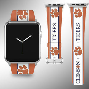 Clemson Tigers Apple Watch Band 38 40 42 44 mm Fabric Leather Strap 2
