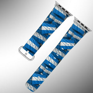 Honduras Flag Apple Watch Band 38 40 42 44 mm Series 1-5 Fabric Leather Strap 01