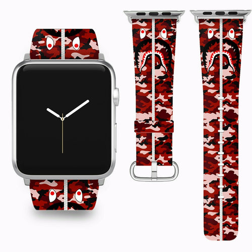 Bape Shark Apple Watch Band 38 40 42 44 mm Series 1 - 5 Fabric Leather Strap 2