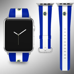 El Salvador Flag Apple Watch Band 38 40 42 44 mm Fabric Leather Strap